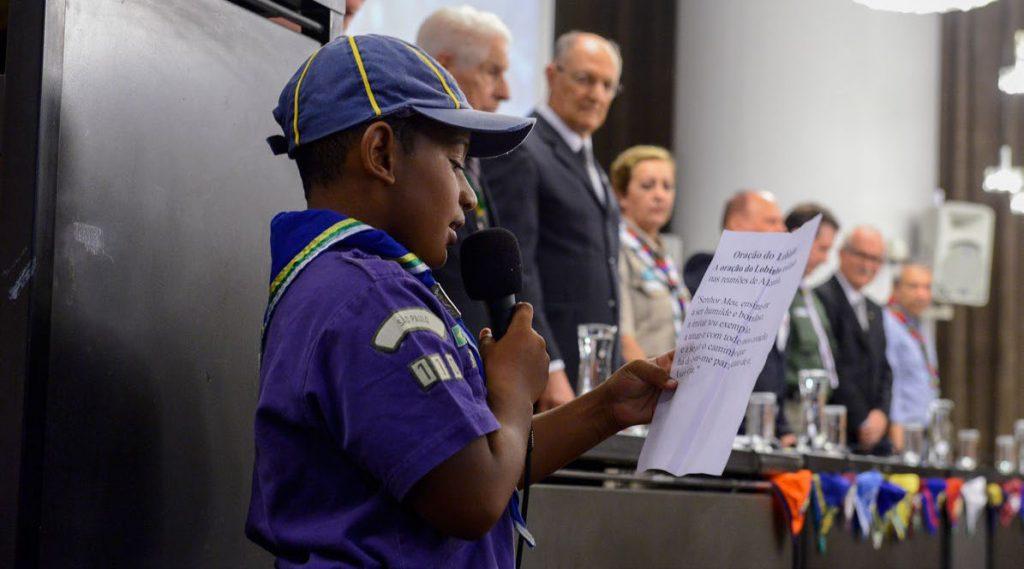 Escoteiro Guilherme Melo durante a Sessão Solene | Foto: Ricardo Rocha/CMSP