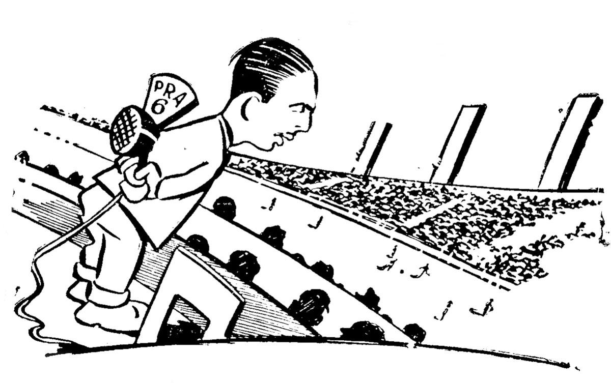 Murillo em caricatura publicada na coluna Fora do Microfone, na Gazeta Esportiva, em 1944