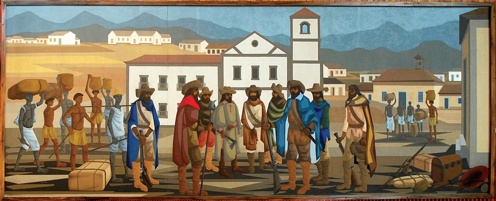Quadro A partida dos bandeirantes de Clóvis Graciano que está no Salão Nobre da CMSP