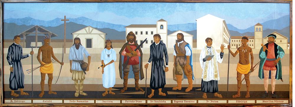 Fernão Dias e Raposo Tavares na pintura Colonizadores da cidade de São Paulo, de Clóvis Graciano, exposta na CMSP