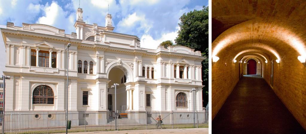 Fachada e vista interna do Arquivo Histórico Municipal, projetado pelo Escritório Ramos de Azevedo