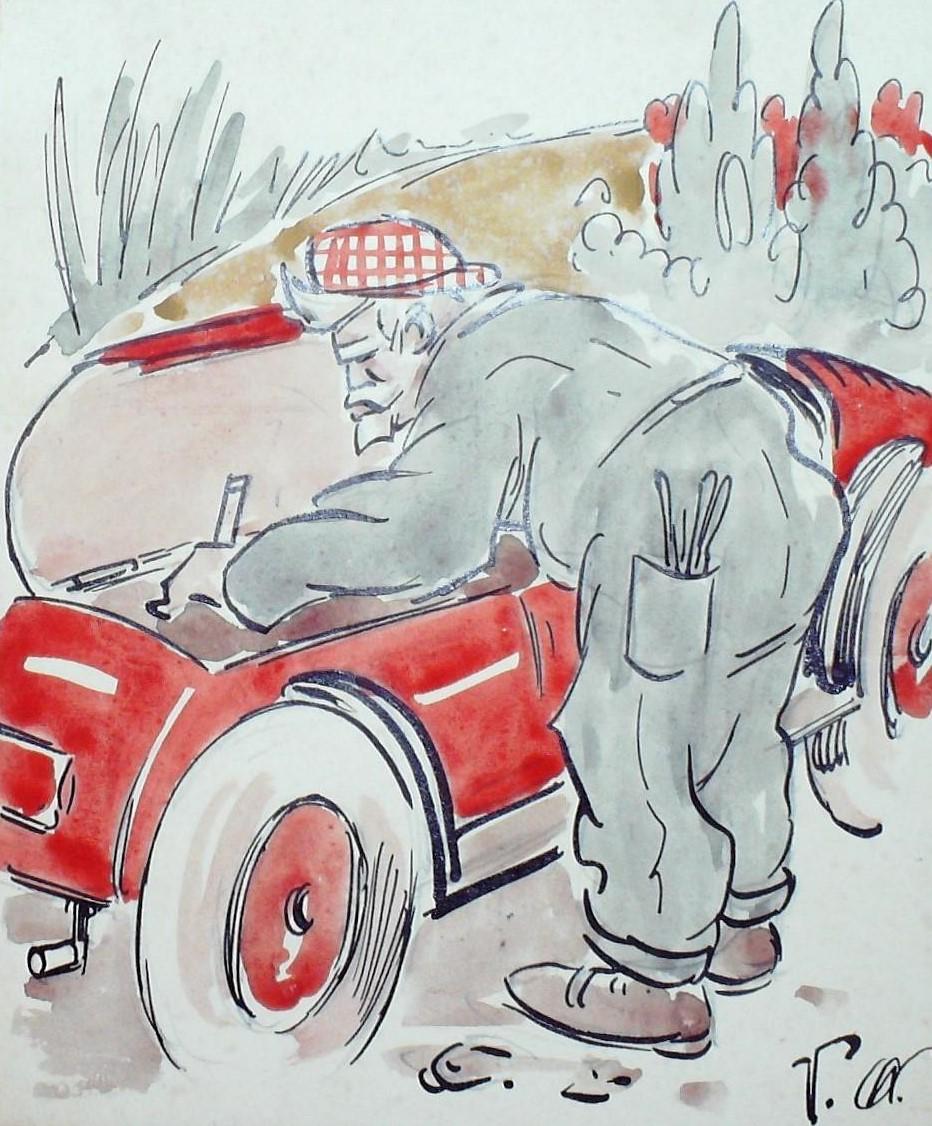 Charge mostra a paixão de Washington Luís por automóveis e estradas| Foto: Coleção Washington Luís Museu Republicano Convenção de Itu USP